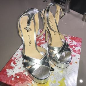 Chinese Laundry metallic silver  high heel shoes